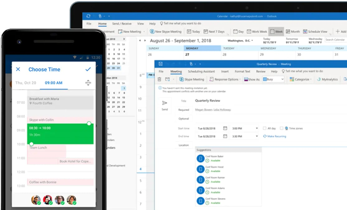 Outlook Calendar with Mobile